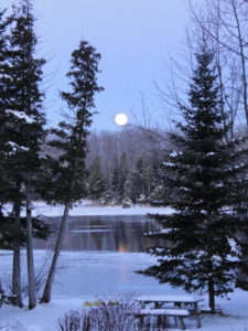 Full moon over Katchewanooka Lake in the winter