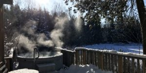 Hot Tub at a Winter Cottage Rental Just North of Peterborough